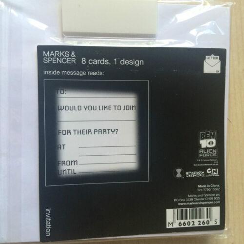 Entièrement neuf sous emballage neuf marks /& spencer m/&s pack de 8 ben 10 alien force party invitations