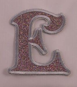 Image Is Loading Embroidered Glitter Rainbow Retro Mod Monogram Letter E