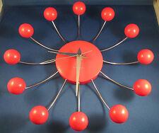 Karlsson Red Ball Clock Funky Retro Sputnik Atomic Spider Wall Clock Red