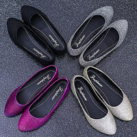 Women Comfort Point Toe Casual Flat Loafer Sequins Glitter Dress Prom Shoes