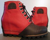 Womens 6-10 Sorel 1964 Premium Leather Wedge Anthropologie Ankle Boots BONFIRE