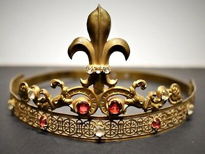 Glorieus Antique French Gilt Brass Tiara With Red Rhinestones & Cut Glass Jewels 19th C. Delicious In Taste