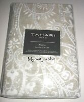 Tahari Home 4 Fabric Napkins - Taupe White Gray Medallion Silver Accents -