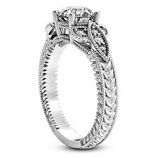 3/4 CT ROUND DIAMOND ENGAGEMENT RING SI1 D 14k WHITE GOLD ENHANCED