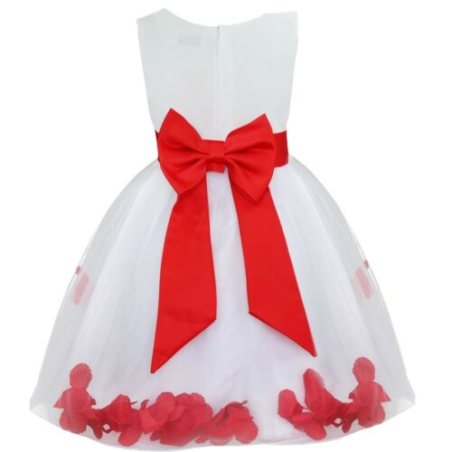 UK Petals Flower Girl Dresses Party Birthday Tutu Gown Princess Wedding Holiday