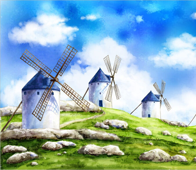 3D Painting Windmill art 0668 Wall Paper Wall Print Decal Wall Deco AJ WALLPAPER