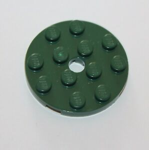 Lego-Ninjago-Dark-Green-Plate-Round-4-x-4-with-Hole-ref-60474-set-9445