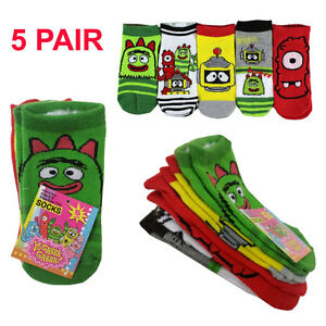 """Yo Gabba Gabba """"Get the Sillies Out!"""" 5-Pack Ankle Socks 4-6 Shoe Size 7-10 NEW"""