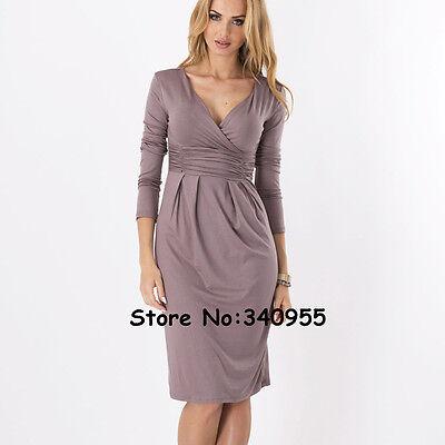 Fasion Women's Sexy V-Neck Stretchy Maternity Tunic Dress OL Long Sleeve Dresses