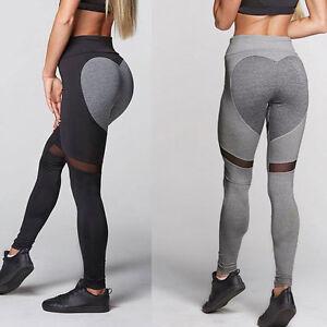 Damen Herz Sport Fitness Leggings Yoga Sporthose Fitnesshose