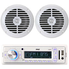 "New PLMR20W Marine In Dash AM//FM Radio MP3 USB SD AUX iPod Input 2 6.5/"" Speakers"