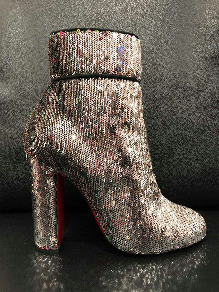 NIB Christian Louboutin Moulamax 100 Silver Sequin 37 Glitter Heel Bootie Boot 37 Sequin 021c9d