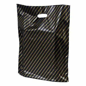 BLACK-AND-GOLD-STRIPE-GIFT-BAGS-BOUTIQUE-SHOP-PLASTIC-CARRIER-BAG-10x12-034