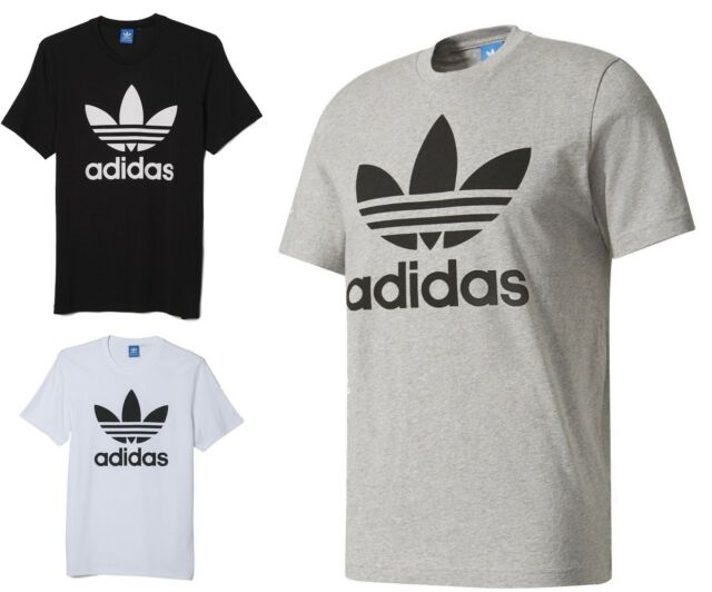 Sz S-XXL Adidas Men/'s Classic Originals Trefoil T-Shirt Tee Cotton Black AJ8830