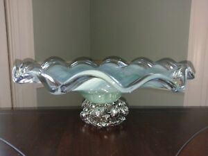 Vtg-Lavorazione-Arte-Murano-Hand-Blown-Glass-Bowl-Venetian-Mint-Green-Amano-M