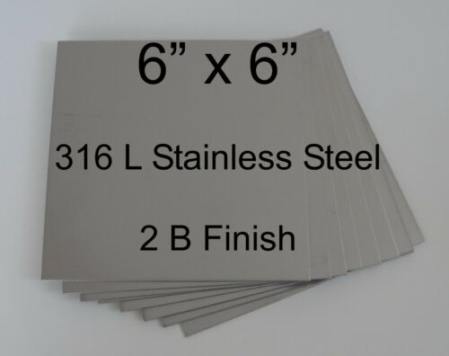 "11 pcs 316L 18 Ga 6/"" x 6/"" Stainless Steel Plate"