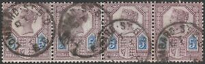1887-JUBILEE-SG207a-5d-DULL-PURPLE-amp-BLUE-DIE-II-FINE-USED-STRIP-OF-4-LONDON-CDS