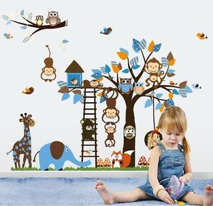 Owl-Wall-Stickers-Monkey-Tree-Animal-Jungle-Decor-Decal-Vinyl-Art-Baby-Nursery