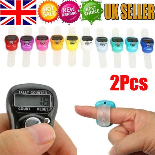Digital Random 9  Various  Colour Finger Tally Knitting Row Counter CLICKER UK