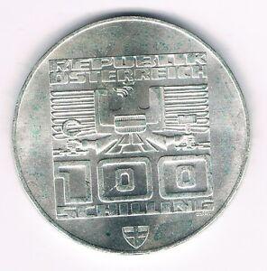 OSTERREICH-100-SCHILLING-1976-OLYMPIA-INNSBRUCK-STADTTURM-HALL-WIEN