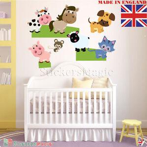 Farm-Animal-Pig-Cow-Sheep-Nursery-Kids-Baby-Boy-Girl-Wall-Stickers-Decal-Decor
