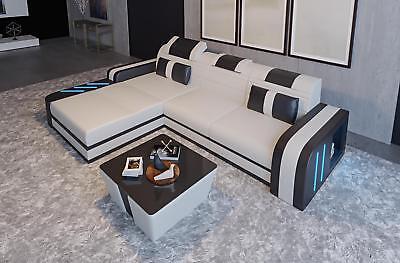 Zelfverzekerd Design Sofa Couch Leder Polster Sitz Garnitur Wohnlandschaft Ecksofa A4 Neu Weiß