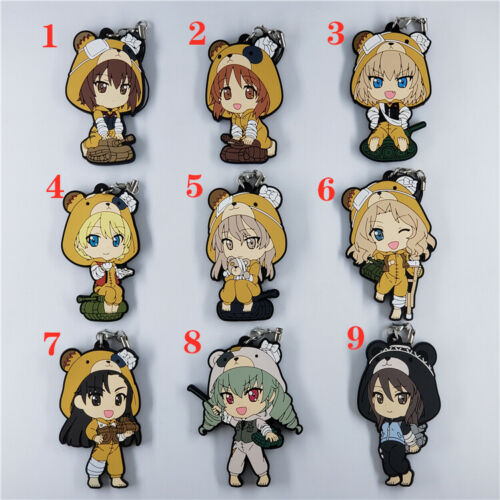 Anime Girls und Panzer Rubber Keychain Key Ring straps cosplay