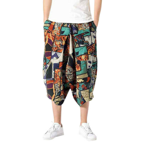 Cool Men Wide Crotch Harem Colorful Wide-legged Bloomers Baggy Cropped Trousers