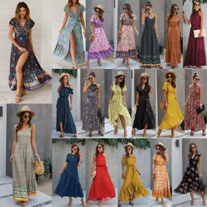 Femmes Longue Maxi Robe D Ete Imprime Floral Boho Robe De Plage Manches Courtes Ebay