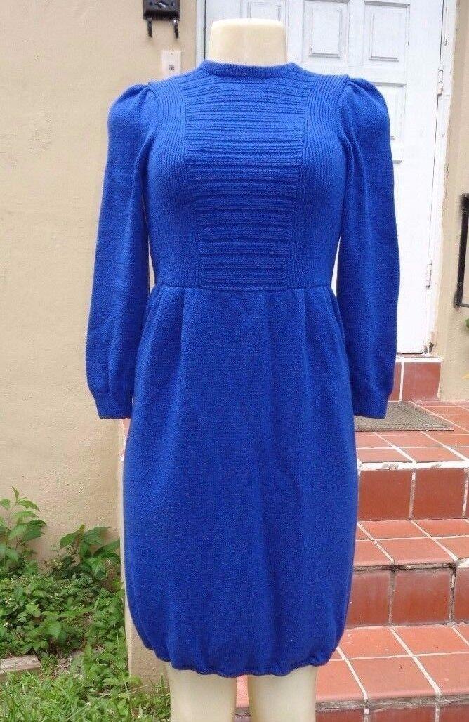 VINTAGE St John for Neiman Marcus blueE SANTANA KNIT LONG SLEEVE DRESS Sz M