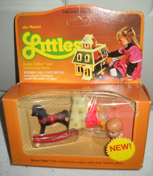 #1027 RARE NRFB Vintage Mattel the Littles Kenny & Rocking Horse/Red Wagon