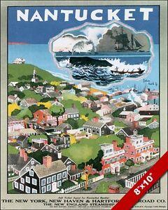 Vintage Nantucket Island Vacation Usa Travel Ad Poster Art Real Canvas Print Ebay