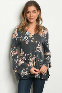 USA-New-Boho-Hippie-Gray-Floral-Tiered-Bell-Sleeve-Western-Blouse-Top-Tunic-S-L