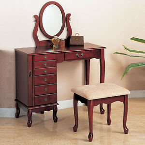 Cherry Traditional Oval Swivel Mirror Make Up Table Fabric Seat Stool Vanity
