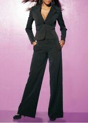 2Tlg. Hosenanzug Laura Scott Lang-Gr.80 (40) Damen Schwarz Streifen Blazer Hose