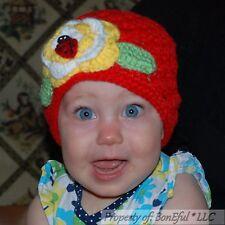 BonEful RTS NEW Boutique Girl Red Crochet Baby Hat Flower Ladybug China Adoption