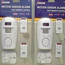 WIRELESS ALARM SECURITY SYSTEM 2 MOTION SENSOR & BRACKETS 4 REMOTE CONTROLS NEW