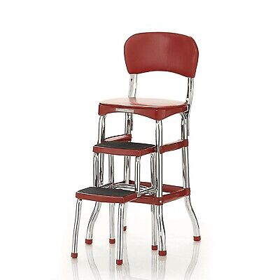 Surprising Retro Step Stool Red Steel Kitchen Counter Chair Pantry Bar Height Folding Three 827164859233 Ebay Onthecornerstone Fun Painted Chair Ideas Images Onthecornerstoneorg