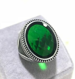 Turkish-Handmade-Jewelry-925-Sterling-Silver-Emerald-Men-039-s-Ring-Size-7-8-9-10