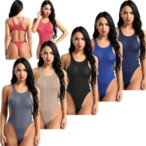 Women-See-Through-Bikini-Thong-Swimsuit-Leotard-Top-Bodysuit-One-Piece-Swimwear