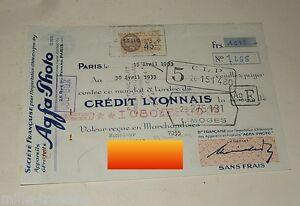 MANDAT-de-1933-Societe-Francaise-pour-l-039-IMPORTATION-d-039-ALLEMAGNE-AGFA-Photo