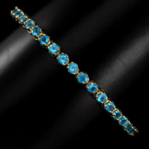 Blue-Apatite-Round-3mm-14k-Gold-Plate-925-Sterling-Silver-Bracelet-10inches