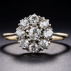 Antique-2-62-CT-Round-Cz-14K-Yellow-Gold-Finish-Cluster-Engagement-Promise-Ring