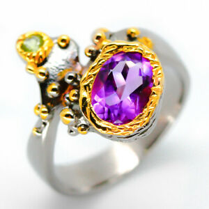 Special-Price-Natural-Amethyst-9x7mm-925-Sterling-Silver-Ring-RVS14