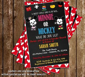 Details About Mickey Or Minnie Gender Reveal Baby Shower Invitation 15 Printed W Envelopes