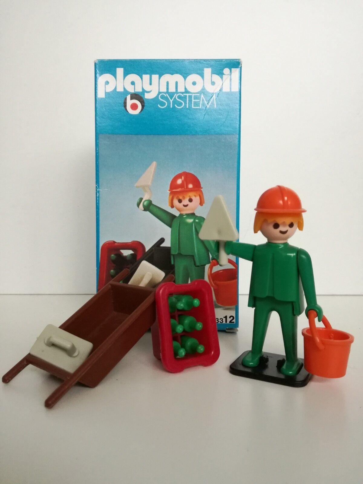Playmobil 3312 v1 - Construction worker   Hochbauarbeiter (OVP LineArt Box)