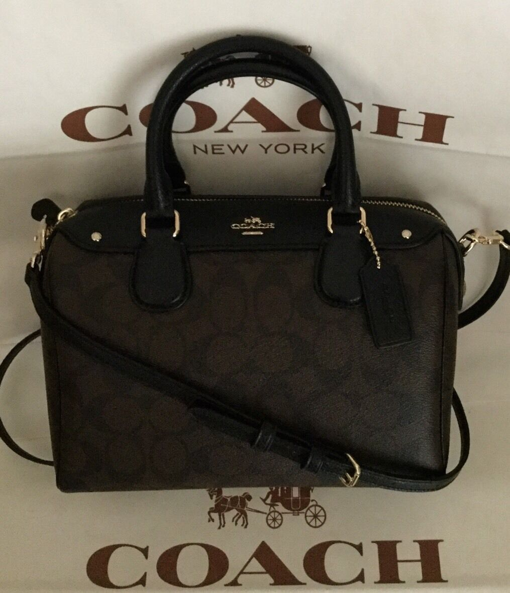 Coach Signature Mini Bennett Satchel F36702 Brown   Black for sale ... 0c5f7c3a177f2