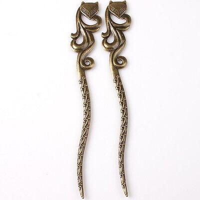 3pcs 145103 Hotsale Bronze Tone Enchanting Fox Charms Alloy Hairpins Bookmark