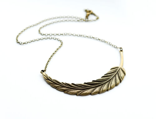 Statement Feather Leaf Necklace Antique Jewellery Vintage Gold Bronze Jewelry