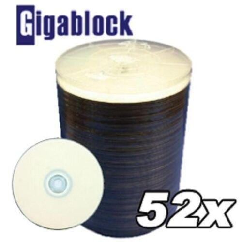 500 pcs Lot CD-R 52x White Inkjet Full Face Hub Printable blank Disc media
